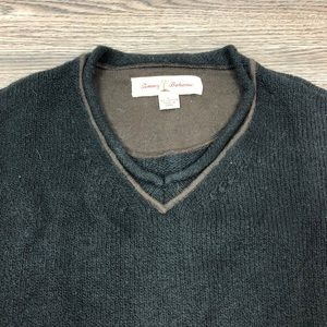 Tommy Bahama Sweaters - Tommy Bahama Black w/ Brown Trim V-Neck Sweater L
